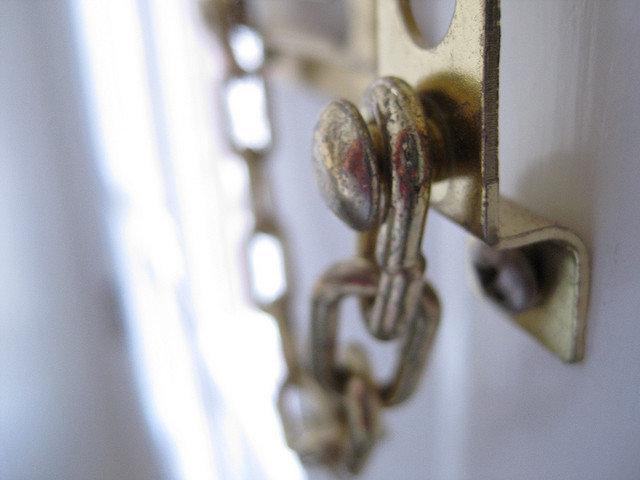 door chain installed on front door