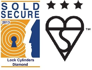 Sold Secure Lock Cylinders Diamond and Kite 3 Stars Logo