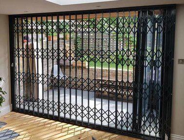 bifold door secured with grilles