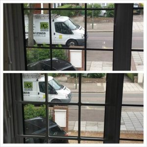 before and after installation of security grille by IKS locksmiths