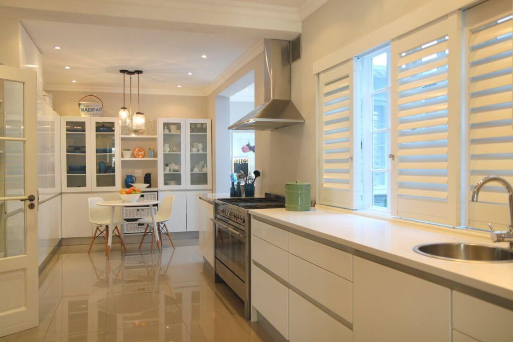 aluminium plantation shutters in kitchen