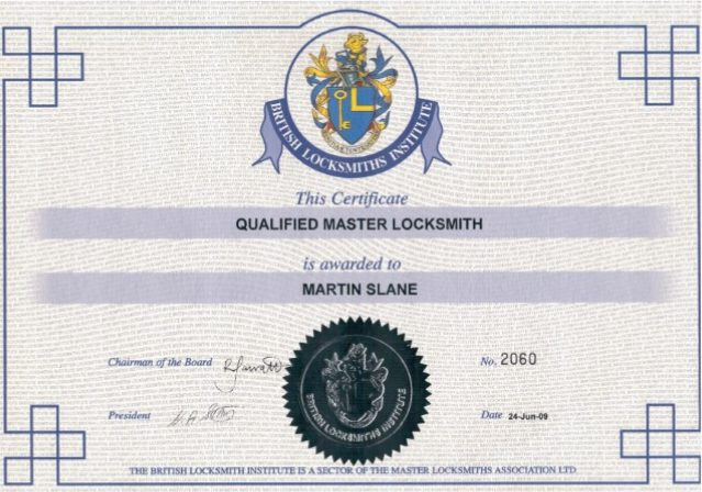 qualified master locksmith certificate
