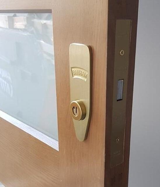 Banham lock fitted on door