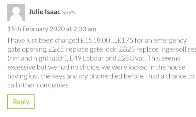 Overcharged by a locksmith