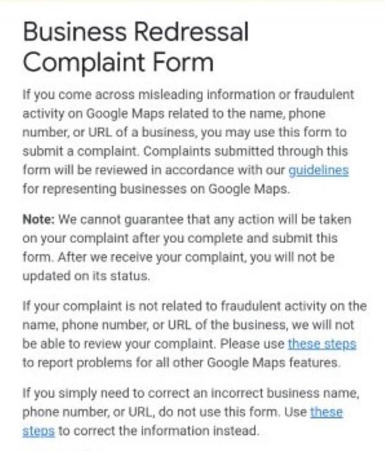 Google business redressal complaint form