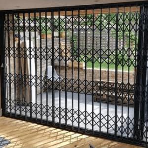 X-Lattice retractable security grilles for door